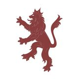 Heraldry red  Lion. Vector image of heraldry Lion on the white background Stock Images