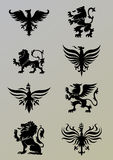 Heraldry set. Heraldry design elements,black colored Royalty Free Stock Image