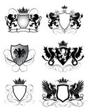 Heraldry set shield. Set of heraldry shield design, black colored Stock Photography
