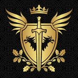 Heraldry shield with dragons, wings and sword on pattern   Royalty Free Stock Photos