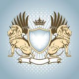 Heraldry shield with lion. Heraldry winged shield with lion,crown and swirl elements Stock Photography