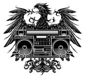 Heraldry style eagle holding a boombox. T-shirt design Royalty Free Stock Photo