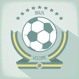 Heraldry Welcome to Brazil. Flat design emblem for football in Brazil. Ribbons around the ball. Vector eps 10 Royalty Free Stock Photography