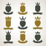 Heraldyczne królewskie blazon ilustracje ustawiają - imperiał paskującego wystrój ilustracja wektor