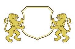 Heraldyczni lwy trzyma osłonę ilustracji