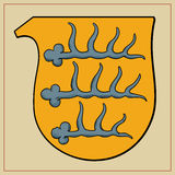Heraldyczni rogi na osłonie Zdjęcia Royalty Free
