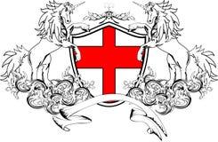 Heraldyczny jednorożec żakiet ręka grzebień shield4 Zdjęcie Stock