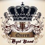Heraldyczny Królewski projekt logotyp w antyka stylu z koroną, l ilustracja wektor