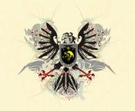 Heraldyczny orzeł z osłoną i pluśnięciami royalty ilustracja