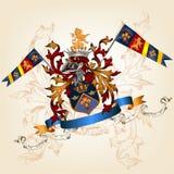 Heraldyczny projekt z żakietem ręki, hełm i osłona, Fotografia Royalty Free