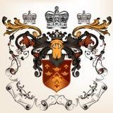 Heraldyczny projekt z żakietem ręki i osłona Zdjęcie Royalty Free