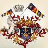 Heraldyczny projekt z żakietem ręki, koń i osłona, Obraz Stock