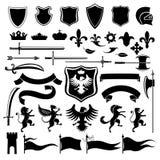 Heraldyczny ustalony czerń Obraz Royalty Free