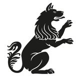 Heraldyczny zwierzę domowe pies lub wilka zwierzę nieokiełznany Ilustracji