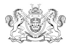 Heraldyka, heraldyczny grzebień lub żakiet ręki, heraldyczni elementy dla twój projekta, rytownictwo, rocznika retro styl, herald ilustracja wektor