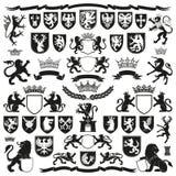 HERALDYKA symbole i Dekoracyjni elementy royalty ilustracja