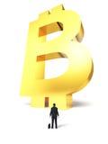 Heranwachsen des elektronischen Geldes Bitcoin des Zeichens Lizenzfreie Stockbilder
