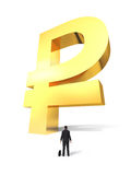 Heranwachsen des Geldrubelzeichens Stockbild