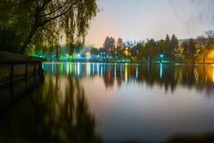 Herastrau Lake. The Herastrau lake reflections on a foggy night in Bucharest, Romania Royalty Free Stock Images