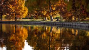 Herastrau park in autumn park , Bucharest Romania royalty free stock image