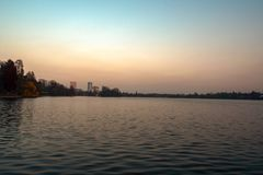 Herastrau. The view of the lake from the park Herastrau, in Bucharest, Romania Stock Photo