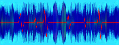Heratbeet red line on turquoise electrocardiogram  Royalty Free Stock Photography