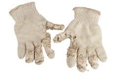 Heraus getragen stricken Sie Baumwollarbeitshandschuhe. stockbild