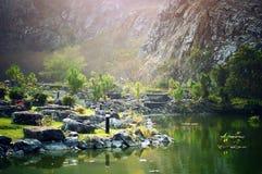 Heraus im wilden und in der Unterlassung einen Fluss mit Baumreflexionen lizenzfreies stockfoto
