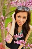Heraus schauen von den Blumen Stockfoto