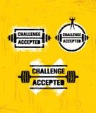 Herausforderung angenommen Kreatives Sport-und Eignungs-Gestaltungselement-Konzept Starkes Trainings-Vektor-Motivations-Zeichen stock abbildung