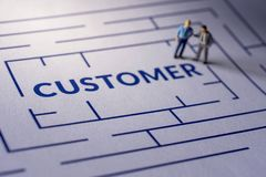 Herausforderung für Kunden-Erfahrungs-Konzept Geschenk durch Miniatur lizenzfreies stockfoto