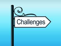 Herausforderungs-aufwändiges Verkehrsschild Stockbild