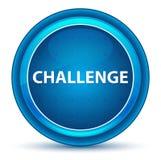 Herausforderungs-Augapfel-blauer runder Knopf stock abbildung
