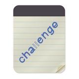 Herausforderungs-Beschriftung auf Notizbuch-Schablone stock abbildung