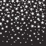 Herausgeschnittene Sterne auf einem schwarzen nahtlosen Hintergrund mit einer Steigung Auch im corel abgehobenen Betrag Stockfotos