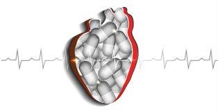Herausgeschnittenes Herz mit Pillen Stockfoto
