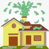 Herausspritzendes Geld des Hauses Stockfoto