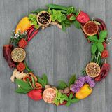 Herb And Spice Wreath Stock Photos
