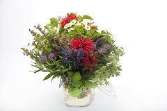 Herb bouquet. With sage, rosemary and chamomile in vase Stock Photo