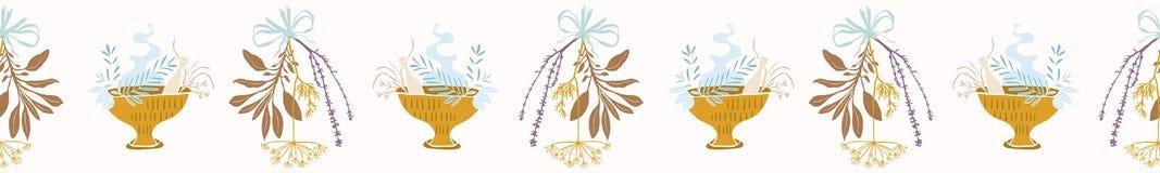 Herb Bunches Seamless Vetora Border secado sagrado Sábio ardente esotérico ilustração royalty free
