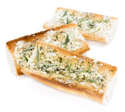 Herb Butter Baguette over white Stock Photography