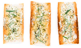 Herb Butter Baguette over white. Homemade Herb Butter Baguette isolated on white background Royalty Free Stock Photography