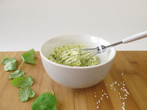 Herb butter in bowl. And fresh herbs and salt Royalty Free Stock Photo