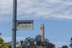 Herb Caen Way sign W/ Coit Tower Royalty Free Stock Image