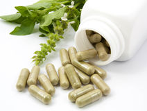 Herb capsules spilling out of a bottle Stock Images