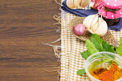 Herb on cloth as background Royalty Free Stock Images