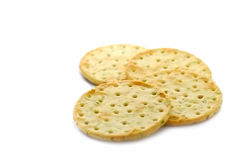 Herb crackers. Luxury herb flavored crackers isolated on white stock image
