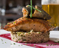 Herb crusted salmon Royalty Free Stock Image