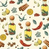 herb czosnków bay kardamonowi liści pieprzowe spice waniliowe rosemary soli royalty ilustracja