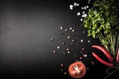 herb czosnków bay kardamonowi liści pieprzowe spice waniliowe rosemary soli basil, czerwony pieprz, sól i rozmaryny na blac, zdjęcie stock